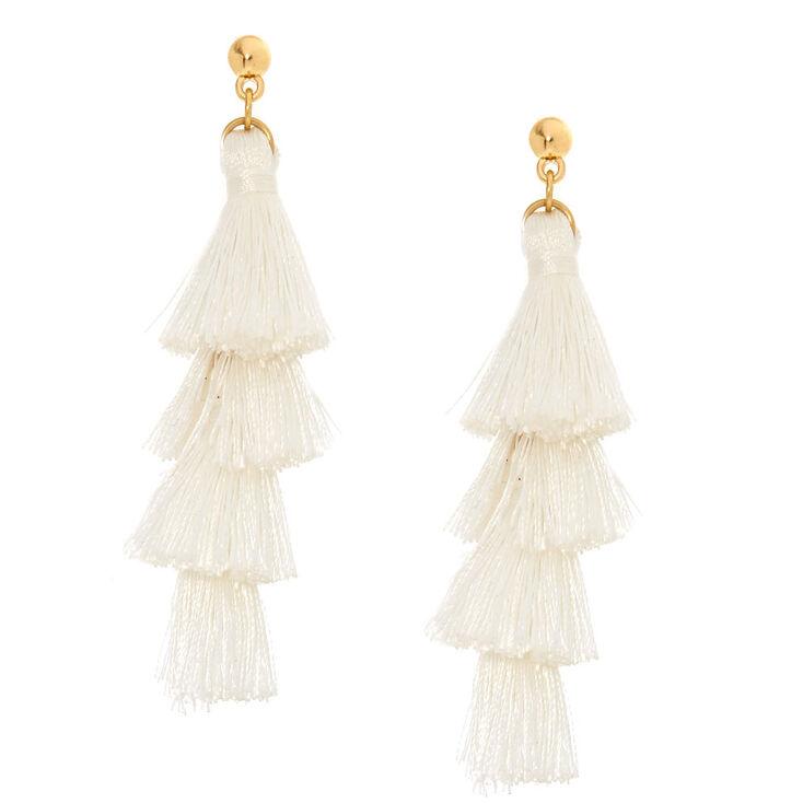 White Tiered Tel Drop Earrings
