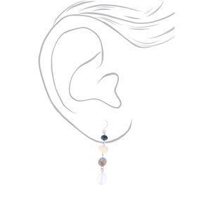 """Silver 2"""" Seashell Stone Drop Earrings - Blue,"""