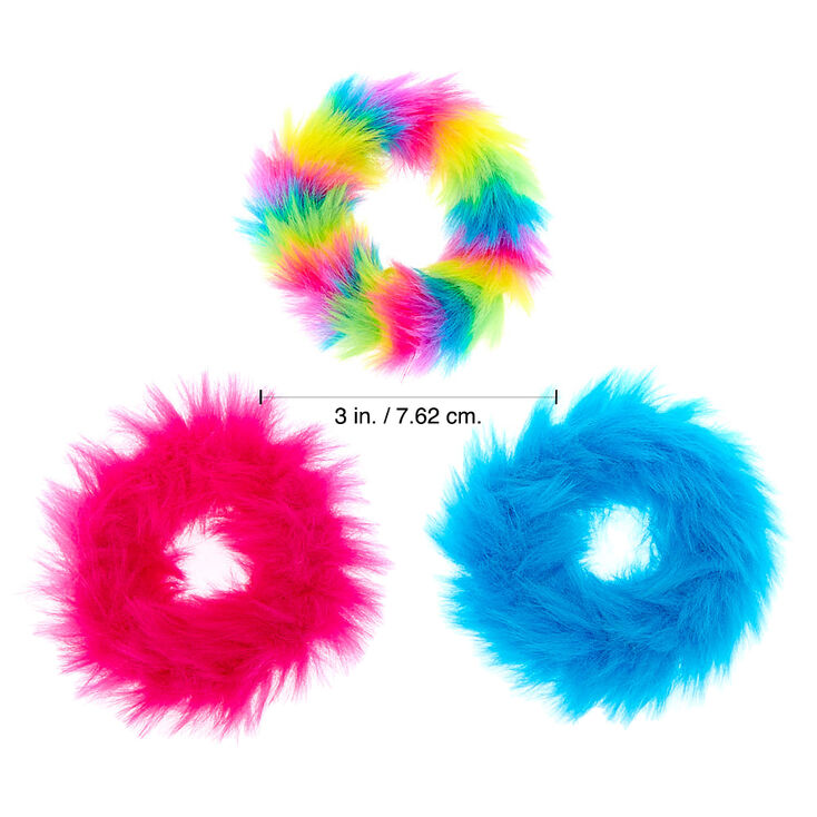 Claire's Club Small Furry Tie Dye Hair Scrunchies - 3 Pack,