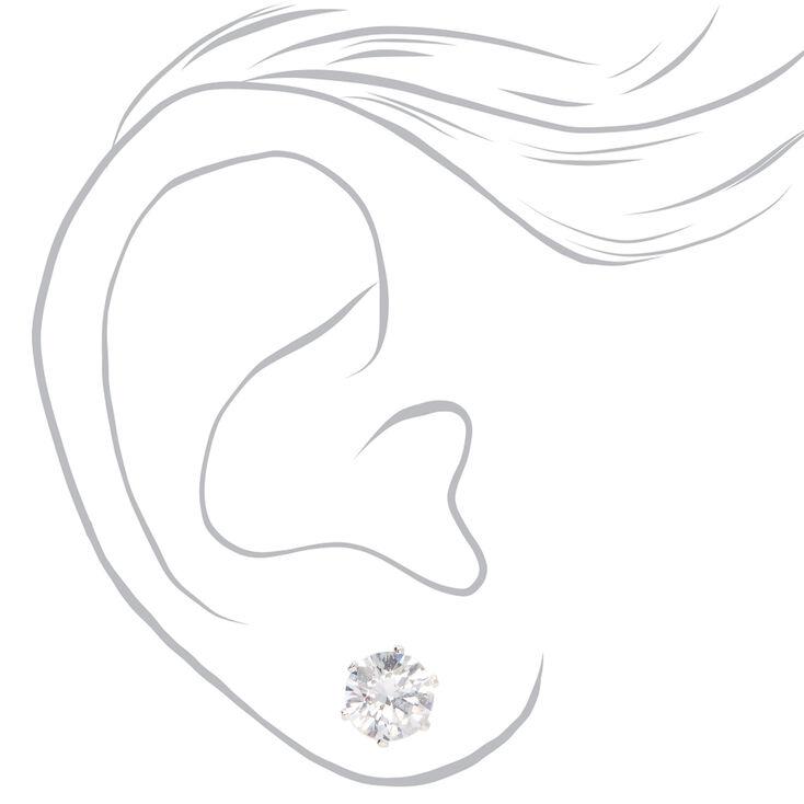Clous d'oreilles aimantés avec strass ronds en zircon cubique d'imitation couleur argentée - 8mm,