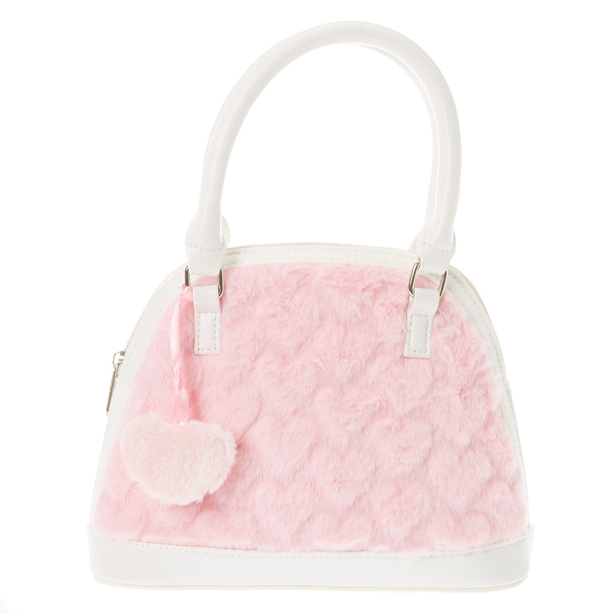 Kids White And Pink Heart Faux Fur Handbag