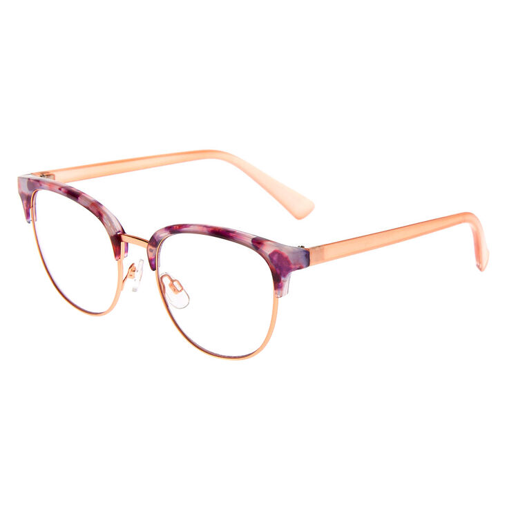 Tortoiseshell Browline Clear Lens Frames - Pink,
