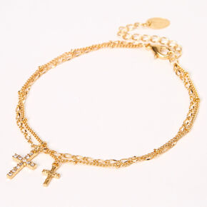 Gold Embellished Cross Chain Anklets - 2 Pack,