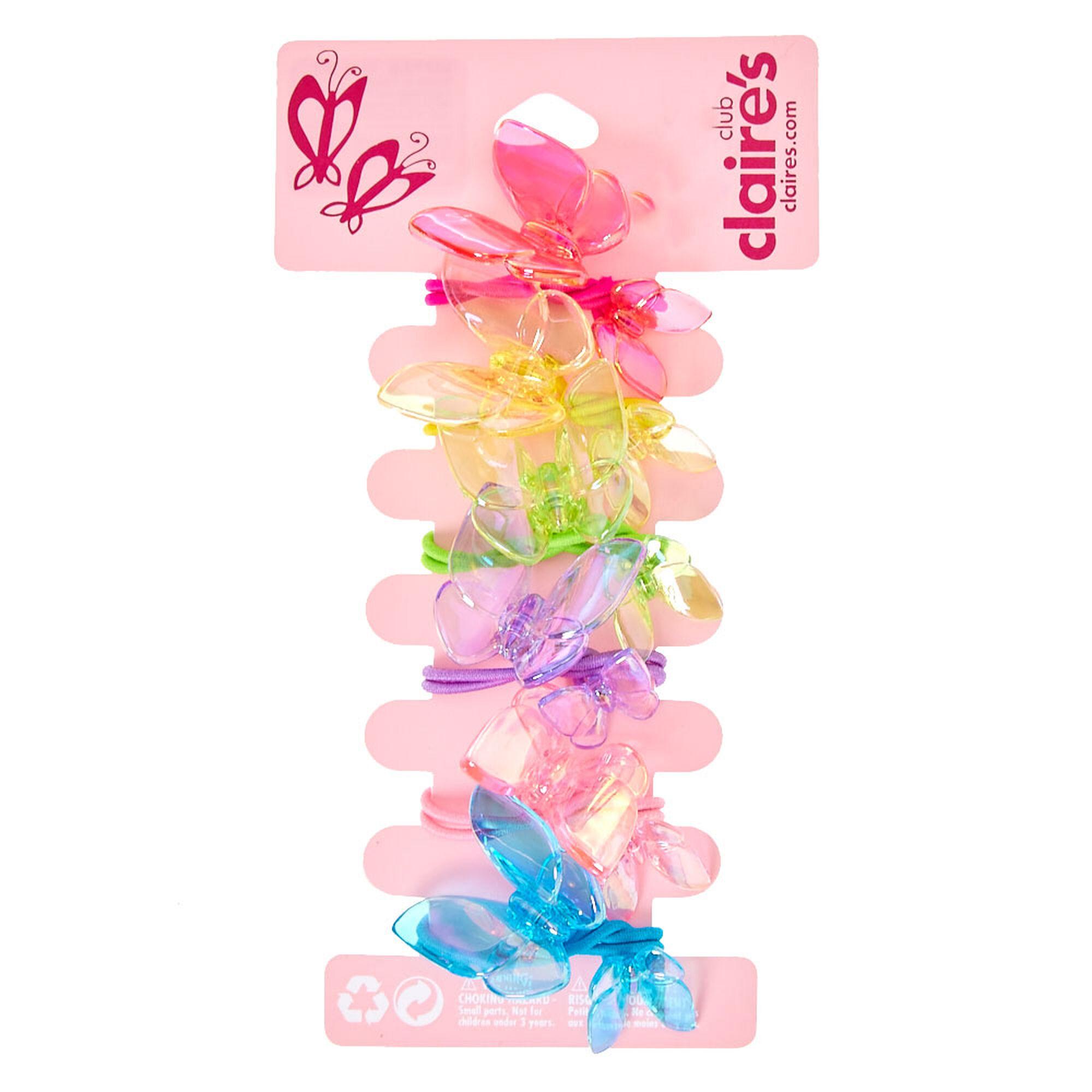 Kids Rainbow Translucent Butterfly Knocker Bead Hair Bobbles  776aedfceee