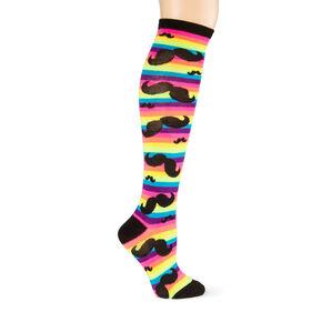 df9254495dd18 Chaussettes montantes à rayures arc-en-ciel avec moustaches