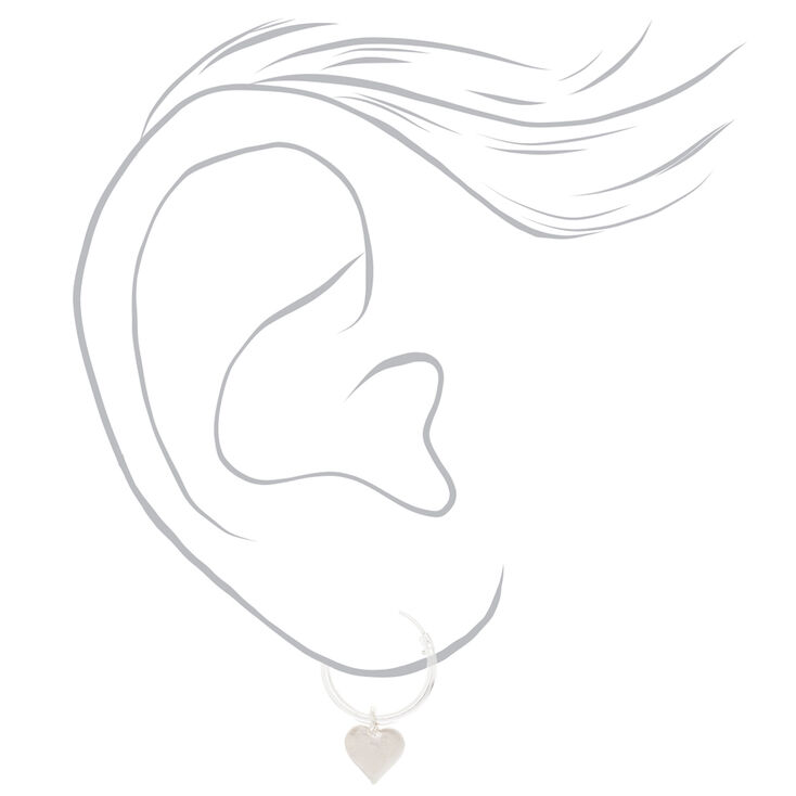 Sterling Silver 12MM Heart Hoop Earrings,