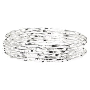 Bracelets fins bangle torsadés couleur argenté - Lot de 7,