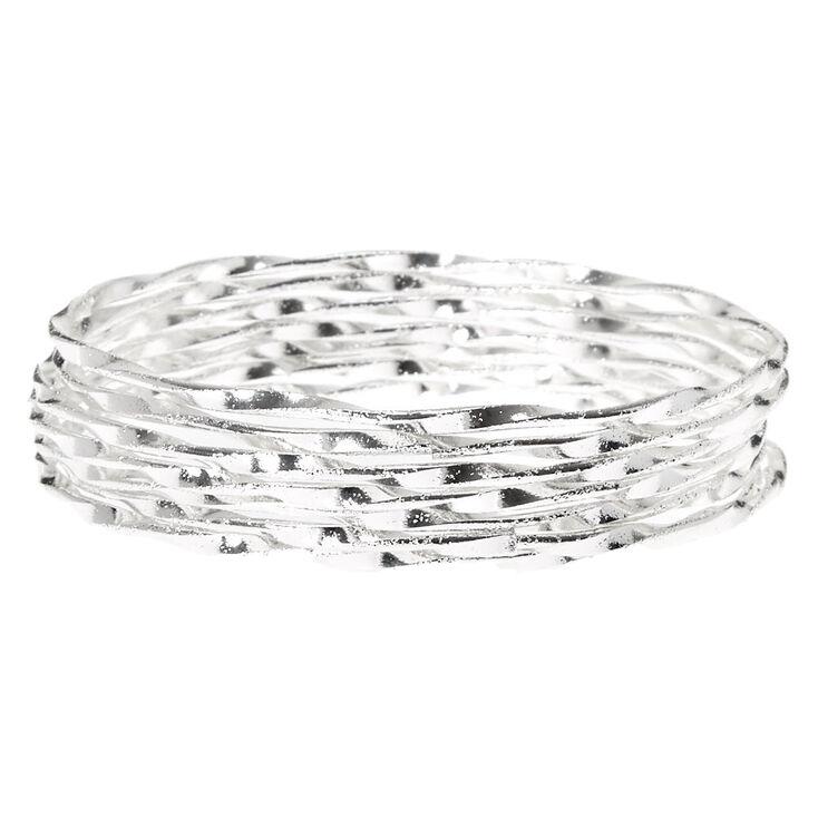 Silver Twisted Bangle Bracelets - 7 Pack,