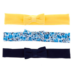 Claire's Club Floral Bow Headwraps - Navy, 3 Pack,