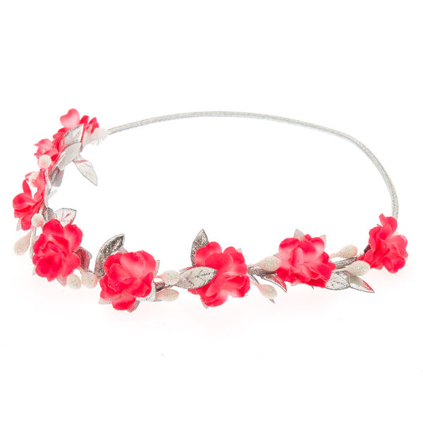 Claire's - hot & silver flower crown headwrap - 1