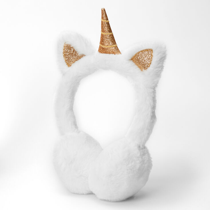 Claire's Club Plush Unicorn Glitter Accent Ear Muffs - White,