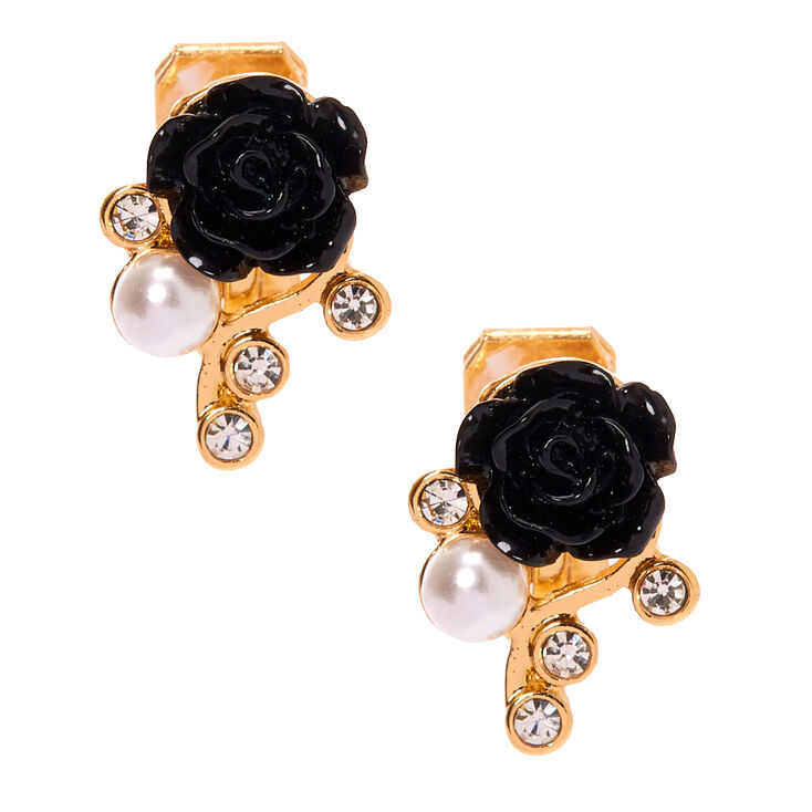 Gold Clip On Floral Stud Earrings - Black,