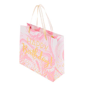 Medium Happy Birthday Marble Gift Bag - Pink,