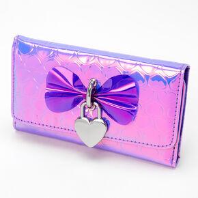 Vinyl Heart Printed Wallet - Purple,