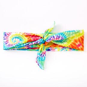 Bandeau bandana motif tie-dye arc-en-ciel,