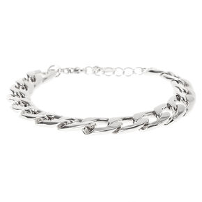 Bracelet chaîne à maillons couleur argenté,