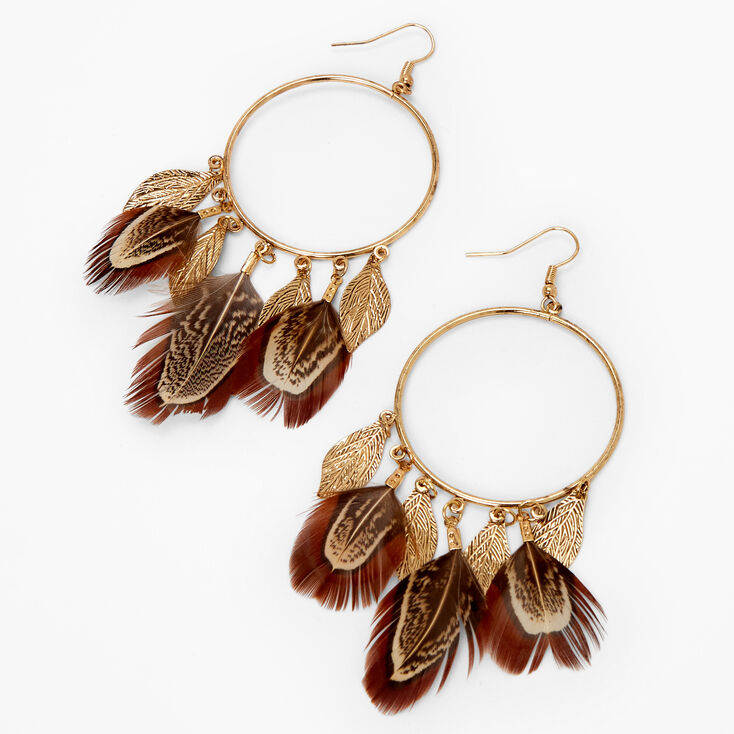 Gold Feather Charm Circle Drop Earrings - Brown,