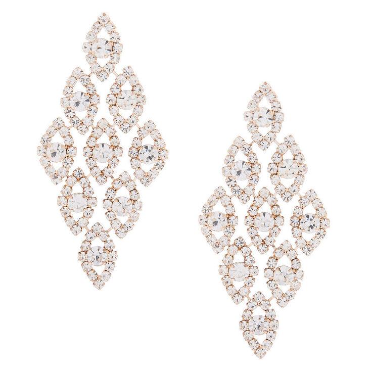 Sparkly Gold Tone Long Multi Strand Chandelier Earrings