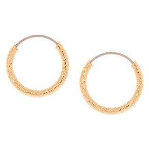 Gold 10MM Textured Hoop Earrings,