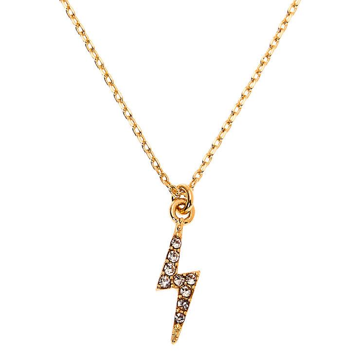 Gold Lightning Bolt Pendant Necklace,