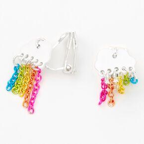 Silver Rainbow Chain Cloud Clip On Stud Earrings,
