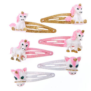 Claire's Club Glitter Unicorn Snap Hair Clips - 6 Pack,