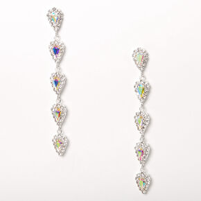 "Silver 2.5"" Rhinestone Loopy Drop Earrings,"