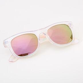 Claire's Club Iridescent Retro Sunglasses - Pink,