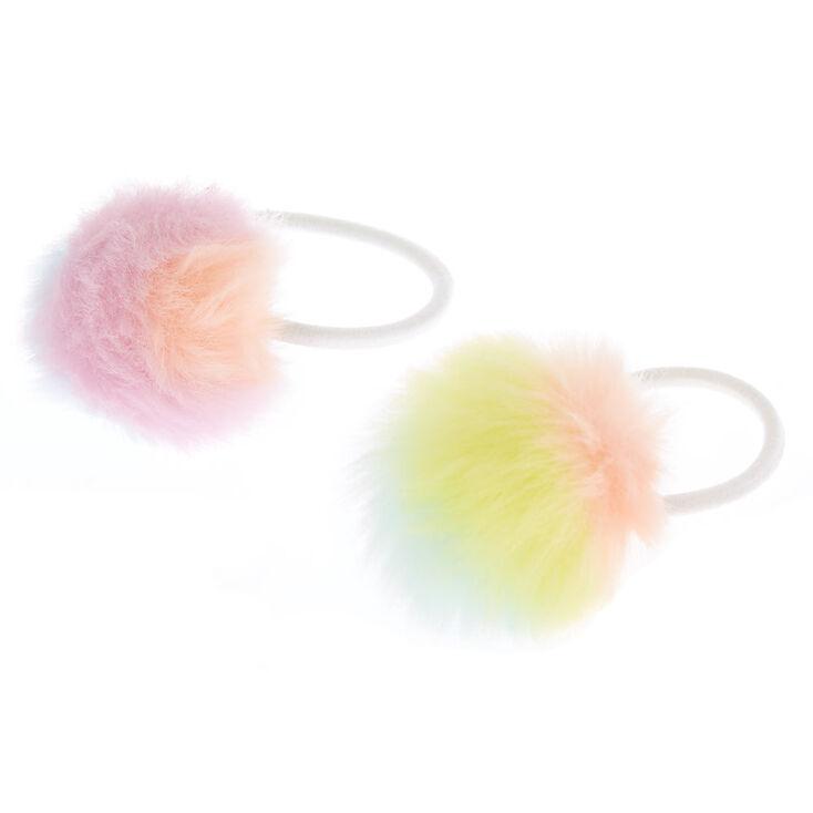 Pastel Rainbow Pom Hair Ties - 2 Pack,