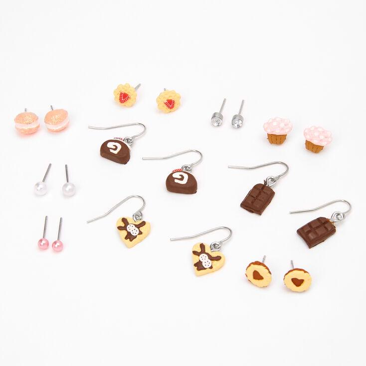 Lot de boucles d'oreilles gourmandises en chocolat en pâte fimo - Lot de 9,