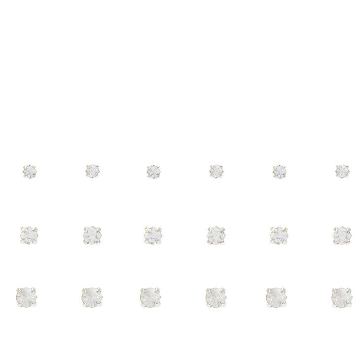Silver Graduated Crystal Stud Earrings - 9 Pack,