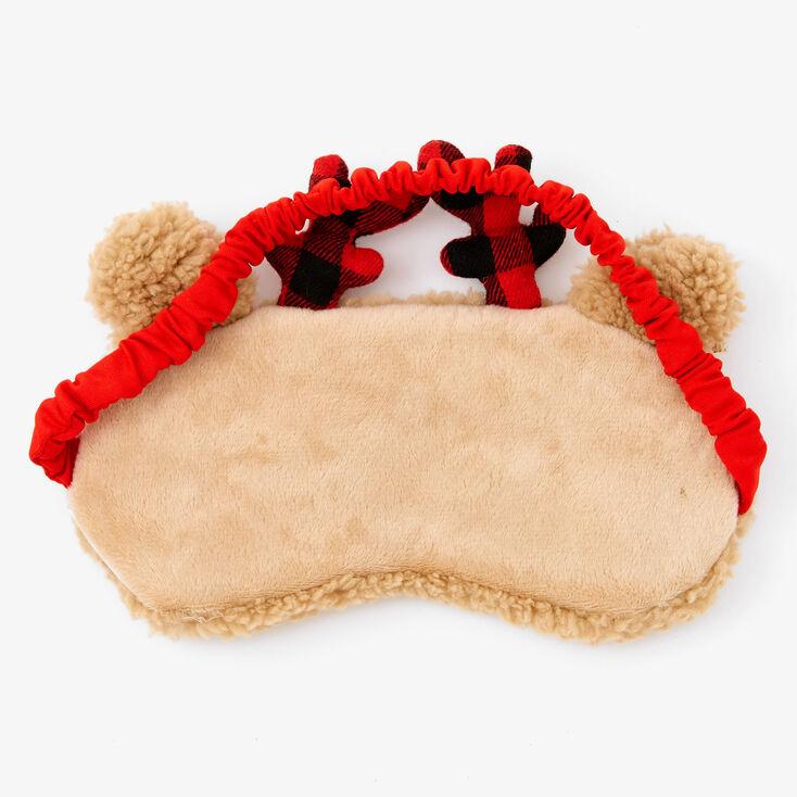Plaid Reindeer Sleeping Mask & Crew Socks Set - Red, 2 Pack,