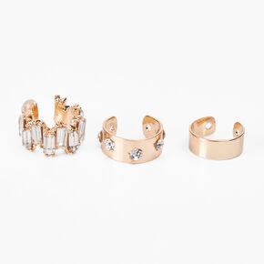 Gold Mixed Rhinestone Ear Cuffs - 3 Pack,