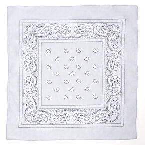 Paisley Bandana Headwrap - Light Grey,