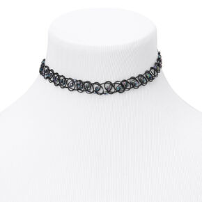Faceted Abalone Bead Tattoo Choker Necklace - Black,