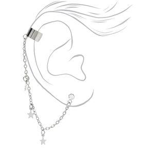 Silver Crystal Star Ear Connector Earrings,