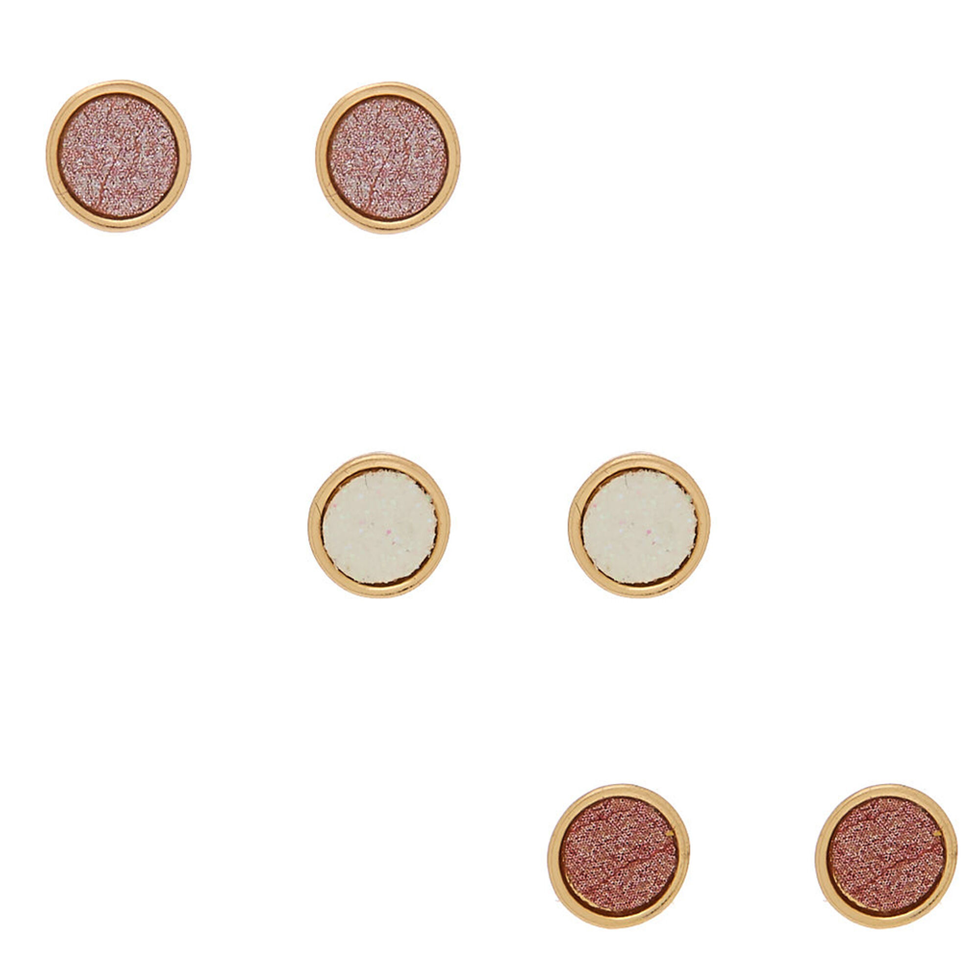 f3d4b5332 Rose Gold Button Stud Earrings - 3 Pack | Claire's