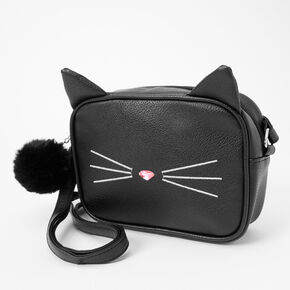 Cat Face Crossbody Bag - Black,