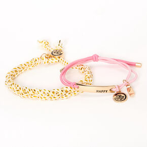 Bracelets tressés réglables Sky Brown™ - Rose, lot de 2,