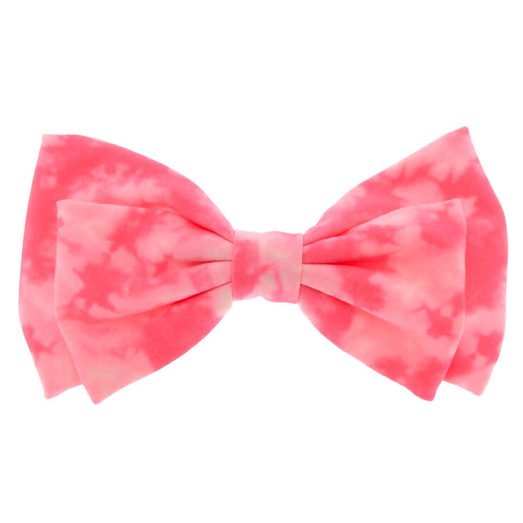 Neon Pink Tie Dye Hair Bow Clip