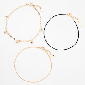 Gold Daisy Cord Chain Anklets - Black, 3 Pack,