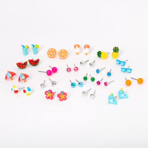 Silver Glitter Beach Vibes Stud Earrings - 20 Pack,