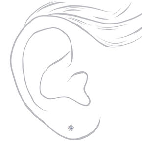 Silver Cubic Zirconia Round Stud Earrings - 2MM,