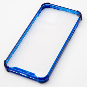Clear Blue Glitter Protective Phone Case - Fits iPhone 12 Pro Max,