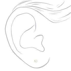 Silver Pearl Stud Earrings - White, 3MM,