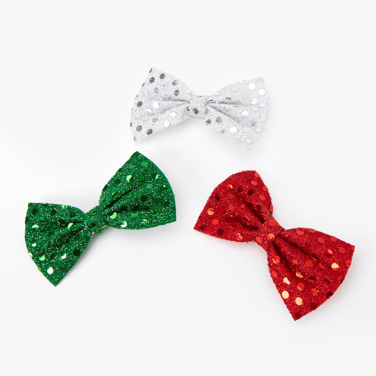 Christmas Glitter Hair Bow Clips - 3 Pack,