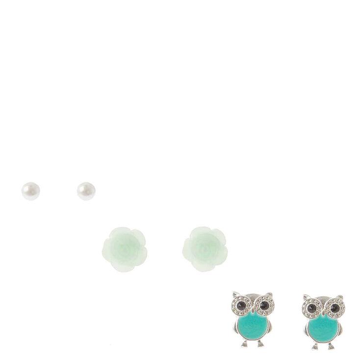 Silver Pearl Rose Owl Stud Earrings - Mint, 3 Pack,