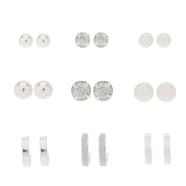 Silver Stud Earrings - 9 Pack,