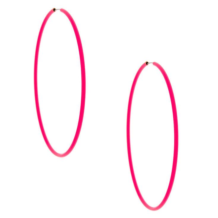 60MM Neon Hoop Earrings -  Pink,