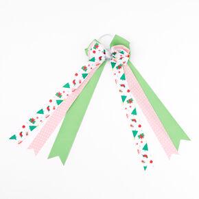 Pastel Holiday Bow Ribbon Hair Tie,